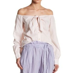 Free People Off The Shoulder Tie Blouse Size Small